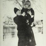 Dominique Lévesque, le père de René, avec celui-ci sur l'épaule