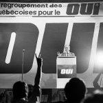 Rassemblement de femmes pendant la campagne référendaire au printemps de 1980. René Lévesque croyait beaucoup au rôle des femmes en politique  ainsi qu'à leur faculté de transmettre des idées une fois qu'elles étaient convaincues.