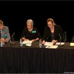 1er panel: de gauche à droite: monsieur Denis Monière, madame Martine Tremblay (animatrice et membre du CA de la Fondation René-Lévesque), madame Anne Caumartin, monsieur Xavier Gélinas.