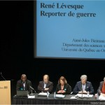 2ième panel : de gauche à droite : messieurs Aimé-Jules Bizimana, Yves Dupré, madame Céline Saint-Pierre (animatrice et membre du CA de la Fondation), messieurs Marc Laurendeau et Pierre C. Pagé.