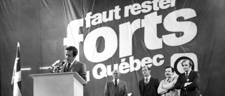 Marc-André Bédard lors de la campagne électorale de 1981. (Fonds Marc-André Bédard)